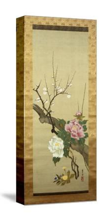 Autumn Flowers-Okada Beisanjin-Stretched Canvas Print