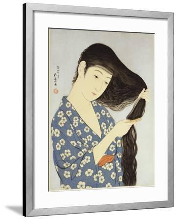 A Young Woman Combing Her Hair-Ioki Bunsai-Framed Giclee Print