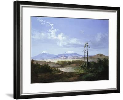 The City of Puebla with Volcanoes, 1879-Salvador Murillo-Framed Giclee Print