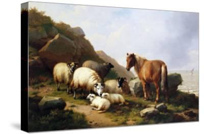 A Pony and Sheep on a Cliff with a Sailing Vessel Beyond, 1868-Alfred Thompson Bricher-Stretched Canvas Print