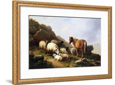 A Pony and Sheep on a Cliff with a Sailing Vessel Beyond, 1868-Alfred Thompson Bricher-Framed Giclee Print