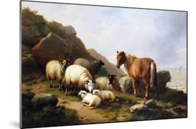 A Pony and Sheep on a Cliff with a Sailing Vessel Beyond, 1868-Alfred Thompson Bricher-Mounted Giclee Print