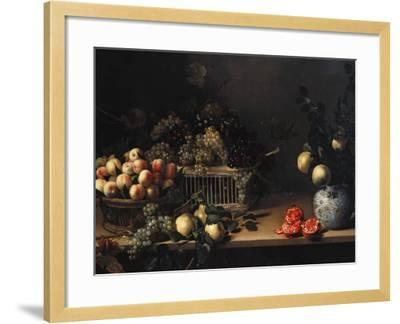 Grapes and Peaches in Wicker Baskets, with Apples, Pears, and Pomegranates on a Table-Cristofano Allori-Framed Giclee Print