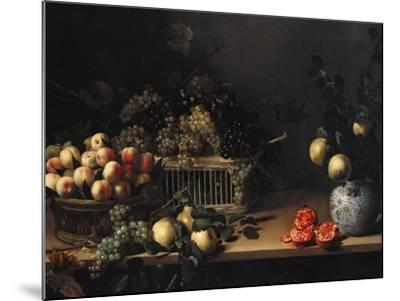 Grapes and Peaches in Wicker Baskets, with Apples, Pears, and Pomegranates on a Table-Cristofano Allori-Mounted Giclee Print
