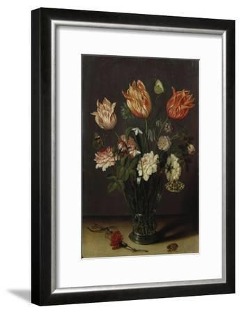 Tulips with Other Flowers in a Glass on a Table-George Wesley Bellows-Framed Giclee Print