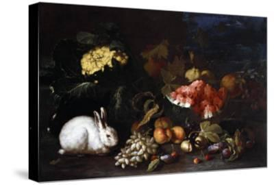 Vegetables and Fruit with Rabbits in a Landscape-George Wesley Bellows-Stretched Canvas Print