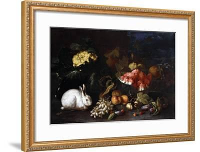 Vegetables and Fruit with Rabbits in a Landscape-George Wesley Bellows-Framed Giclee Print