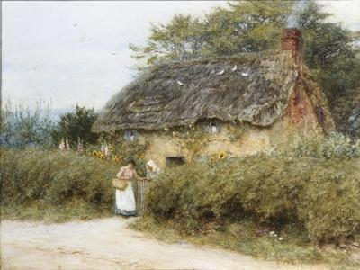 A Thatched Cottage Near Peaslake, Surrey-Helen Allingham-Stretched Canvas Print