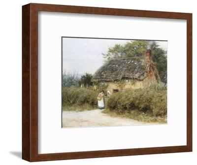 A Thatched Cottage Near Peaslake, Surrey-Helen Allingham-Framed Premium Giclee Print