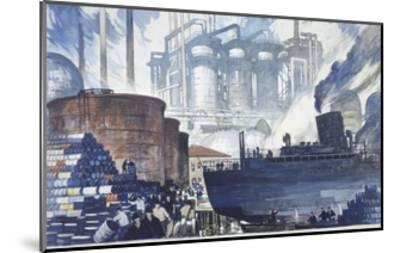 Refinery Turns Petroleum Into Gas for the War-Thornton Oakley-Mounted Giclee Print