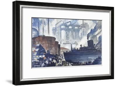 Refinery Turns Petroleum Into Gas for the War-Thornton Oakley-Framed Giclee Print