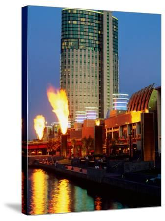 Crown Casino with Riverside Flame Display, Melbourne, Victoria, Australia-Christopher Groenhout-Stretched Canvas Print