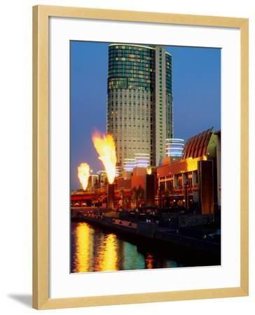 Crown Casino with Riverside Flame Display, Melbourne, Victoria, Australia-Christopher Groenhout-Framed Photographic Print