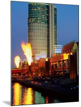Crown Casino with Riverside Flame Display, Melbourne, Victoria, Australia-Christopher Groenhout-Mounted Photographic Print