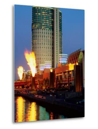 Crown Casino with Riverside Flame Display, Melbourne, Victoria, Australia-Christopher Groenhout-Metal Print
