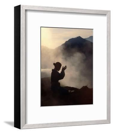 Woman Leaving an Offering on Mt. Batur, Batur, Bali, Indonesia-Margie Politzer-Framed Photographic Print