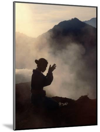 Woman Leaving an Offering on Mt. Batur, Batur, Bali, Indonesia-Margie Politzer-Mounted Photographic Print