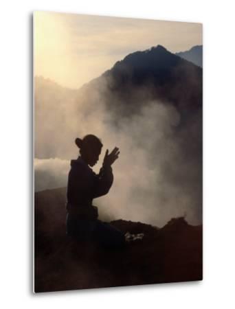 Woman Leaving an Offering on Mt. Batur, Batur, Bali, Indonesia-Margie Politzer-Metal Print
