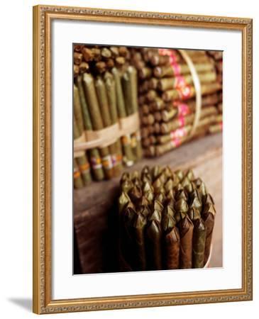 Burmese Cheroots at Market Stall, Myanmar-Anthony Plummer-Framed Photographic Print