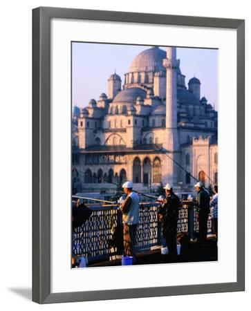 Fishermen on Galata Bridge with Mosque in Background, Istanbul, Turkey-John Elk III-Framed Photographic Print