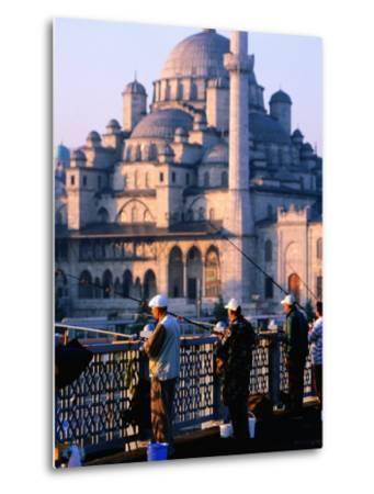 Fishermen on Galata Bridge with Mosque in Background, Istanbul, Turkey-John Elk III-Metal Print