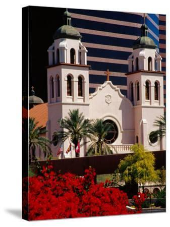 St. Mary's Basilica with Arizona Center Tower Behind, Phoenix, Arizona-Richard Cummins-Stretched Canvas Print