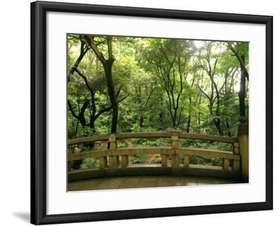Bridge and Garden at Yoyogi-Koen, Tokyo, Kanto, Japan-Greg Elms-Framed Photographic Print