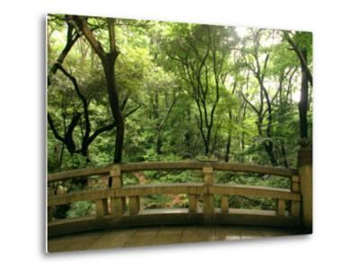 Bridge and Garden at Yoyogi-Koen, Tokyo, Kanto, Japan-Greg Elms-Metal Print