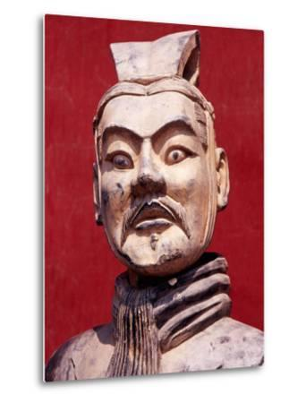 Replica Terracotta Warrior Outside Drum Tower, Beijing, China-Krzysztof Dydynski-Metal Print