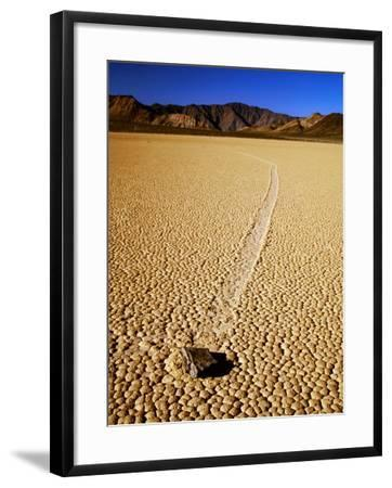 Sliding Rock and Its Track, the Racetrack, Death Valley National Park, California-Mark Newman-Framed Photographic Print