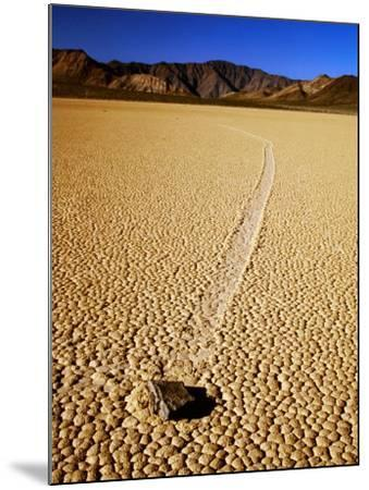 Sliding Rock and Its Track, the Racetrack, Death Valley National Park, California-Mark Newman-Mounted Photographic Print