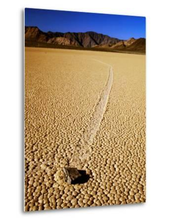 Sliding Rock and Its Track, the Racetrack, Death Valley National Park, California-Mark Newman-Metal Print