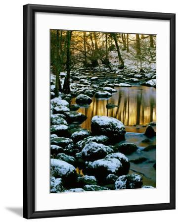 River Rathay at Grasmere with Winter Snow on Rocks, Lake District National Park, Cumbria, England-David Tomlinson-Framed Photographic Print