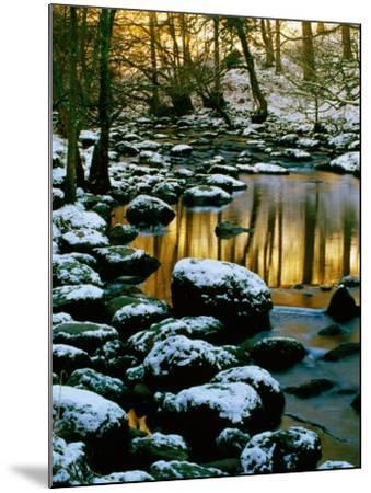 River Rathay at Grasmere with Winter Snow on Rocks, Lake District National Park, Cumbria, England-David Tomlinson-Mounted Photographic Print