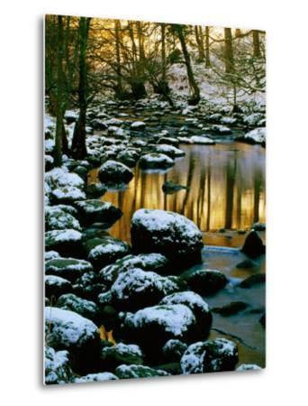River Rathay at Grasmere with Winter Snow on Rocks, Lake District National Park, Cumbria, England-David Tomlinson-Metal Print