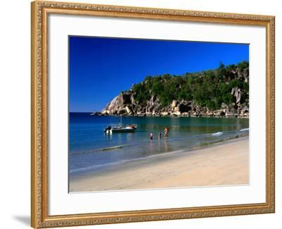 Father and Daughters Enjoying Waters of Radical Bay, Magnetic Island, Australia-Ross Barnett-Framed Photographic Print