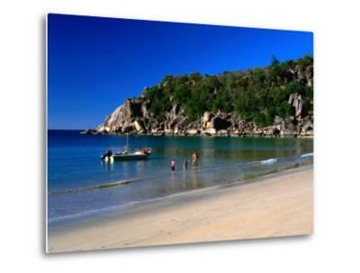 Father and Daughters Enjoying Waters of Radical Bay, Magnetic Island, Australia-Ross Barnett-Metal Print