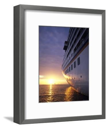 Cruise Ship at Sunset, Reykjavik, Reykjavik, Iceland-Holger Leue-Framed Photographic Print