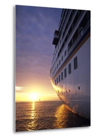 Cruise Ship at Sunset, Reykjavik, Reykjavik, Iceland-Holger Leue-Metal Print