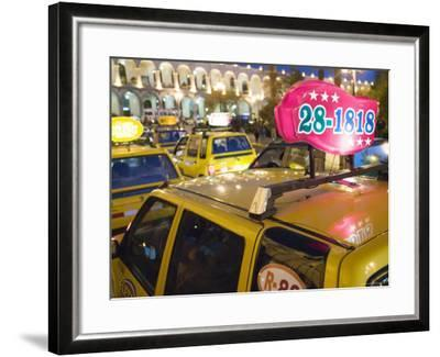 Taxi Cab Jam in Plaza de Armas, Arequipa, Peru-Brent Winebrenner-Framed Photographic Print