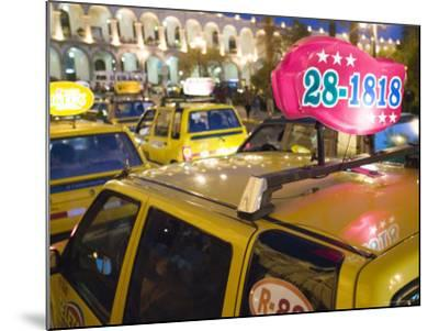Taxi Cab Jam in Plaza de Armas, Arequipa, Peru-Brent Winebrenner-Mounted Photographic Print