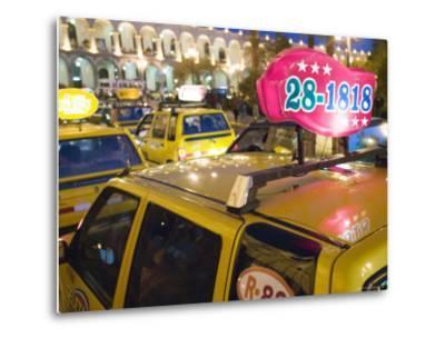 Taxi Cab Jam in Plaza de Armas, Arequipa, Peru-Brent Winebrenner-Metal Print