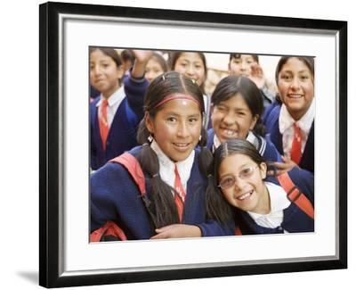 School Kids on Field Trip to Museums on Calle Jaen, La Paz, Bolivia-Brent Winebrenner-Framed Photographic Print