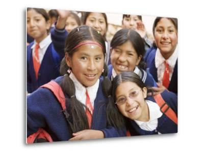 School Kids on Field Trip to Museums on Calle Jaen, La Paz, Bolivia-Brent Winebrenner-Metal Print