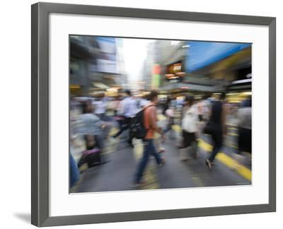 Rush Hour Commuters on Queens Road, Central, Hong Kong, Hong Kong, China-Greg Elms-Framed Photographic Print