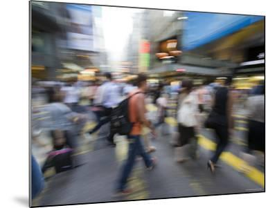 Rush Hour Commuters on Queens Road, Central, Hong Kong, Hong Kong, China-Greg Elms-Mounted Photographic Print