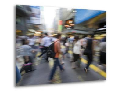 Rush Hour Commuters on Queens Road, Central, Hong Kong, Hong Kong, China-Greg Elms-Metal Print