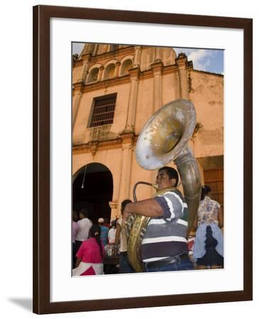 Tuba Player in Front of Iglesia San Juan Bautista de Subtiava During Semana Santa, Leon, Nicaragua-Margie Politzer-Framed Photographic Print