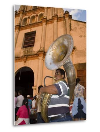 Tuba Player in Front of Iglesia San Juan Bautista de Subtiava During Semana Santa, Leon, Nicaragua-Margie Politzer-Metal Print