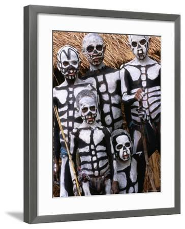 Sing Sing Group Members with Skeleton-Like Body Paint at Mt. Hagen Cultural Show, Papua New Guinea-John Banagan-Framed Photographic Print